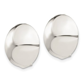 Sterling Silver Non-Pierced 18mm Button Earrings
