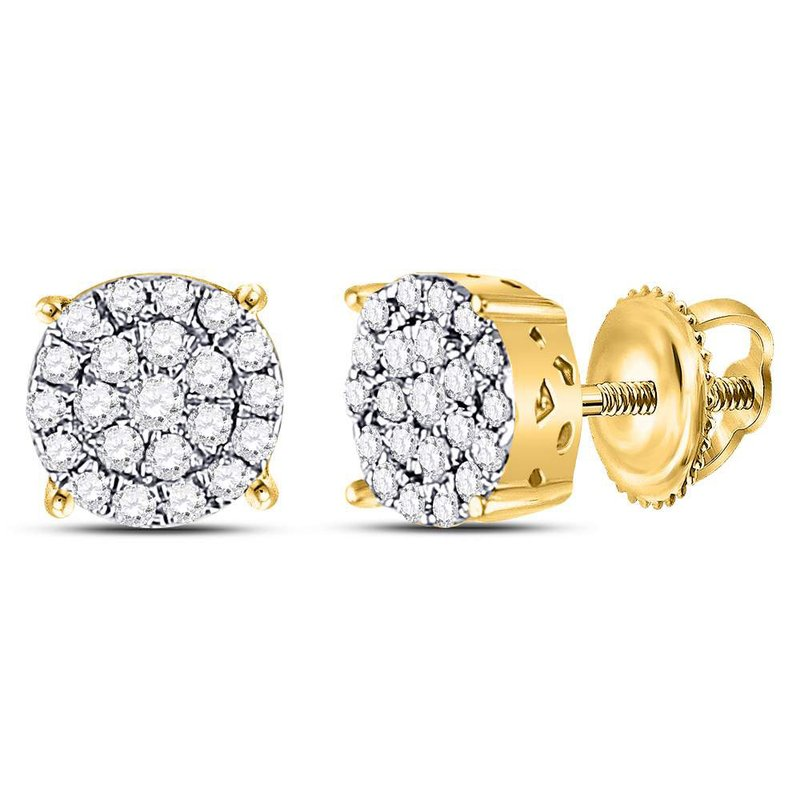 Gold-N-Diamonds, Inc. (Atlanta) 10kt Yellow Gold Womens Round Diamond Concentric Circle Cluster Earrings 1/4 Cttw