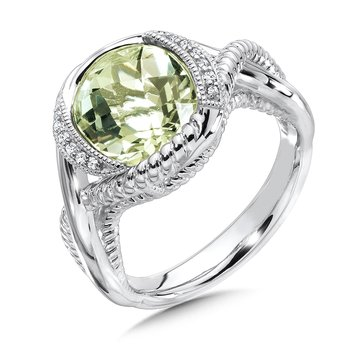 Sterling Silver Diamond & Green Amethyst Ring