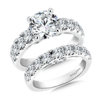 Valina Bridals Mounting with side stones .94 ct. tw., 2 ct. round center.