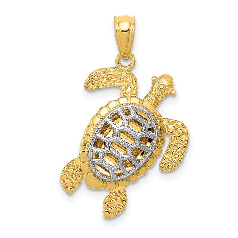 Quality Gold 14k with White Rhodium Polished Moveable Legs Sea Turtle Pendant