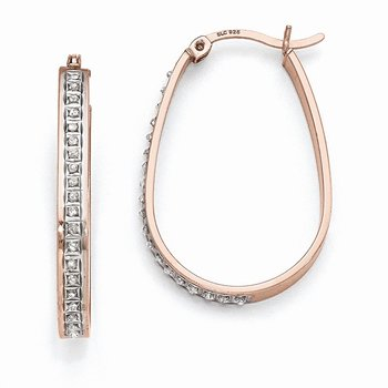 Sterling Silver Diamond Mystique Pear Hoop Earrings