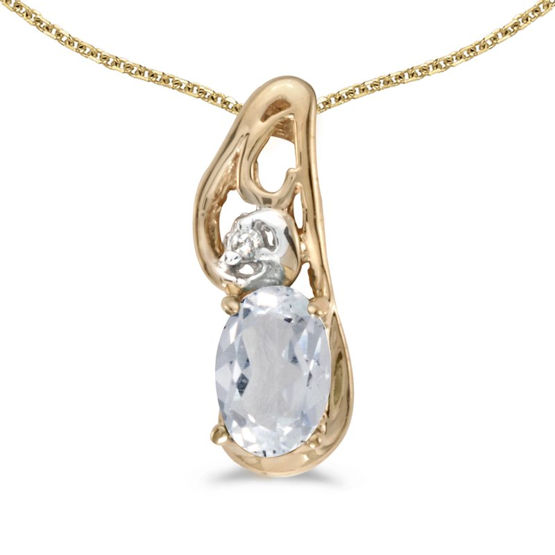 Color Merchants 10k Yellow Gold Oval White Topaz And Diamond Pendant