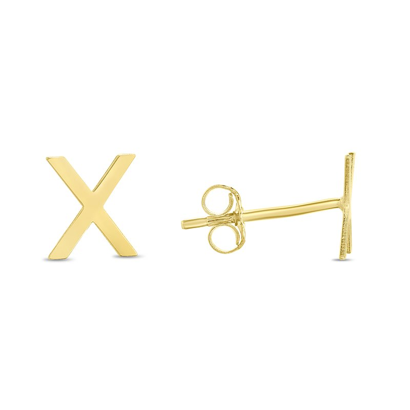 Royal Chain 14K Gold Initial X Stud Earring