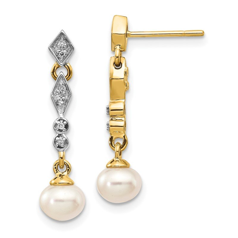 Quality Gold 14k w/Rhodium 5-6mm Semi-round FWC Pearl .04ct Diamond Earrings