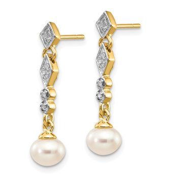 14k w/Rhodium 5-6mm Semi-round FWC Pearl .04ct Diamond Earrings