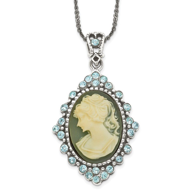 Quality Gold Sterling Silver 16 inch Antiqued with Crystal Blue Resin Cameo Necklace