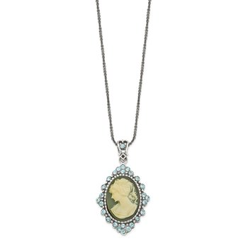 Sterling Silver 16 inch Antiqued with Crystal Blue Resin Cameo Necklace