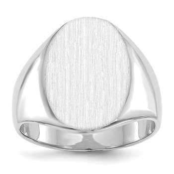 14k White Gold 17.5x14.0mm Closed Back Men's Signet Ring