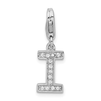 Sterling Silver CZ Letter I w/Lobster Clasp Charm