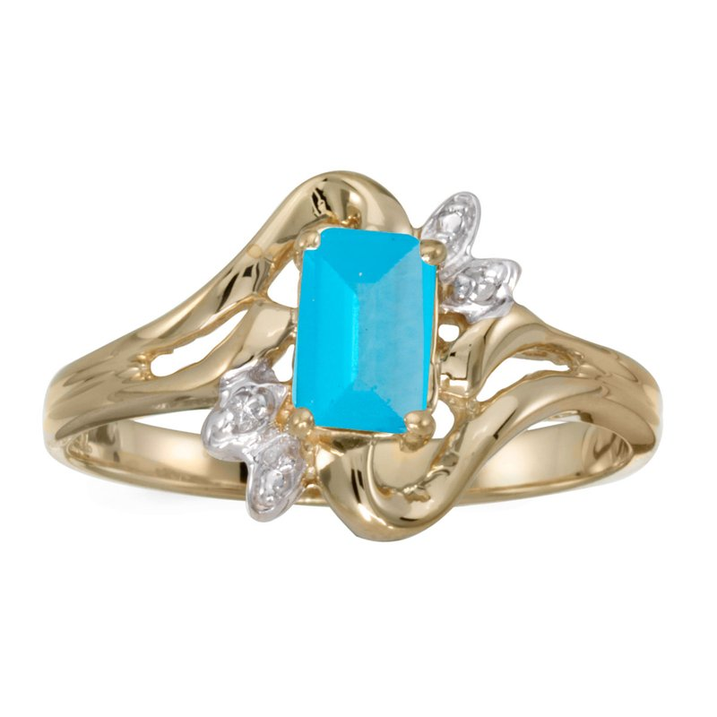 Color Merchants 10k Yellow Gold Emerald-cut Blue Topaz And Diamond Ring