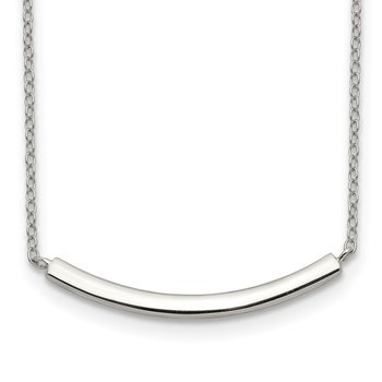 Sterling Silver Rhodium-plated w/2in ext. Bar Necklace