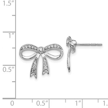 14k White Gold Diamond Bow Earrings