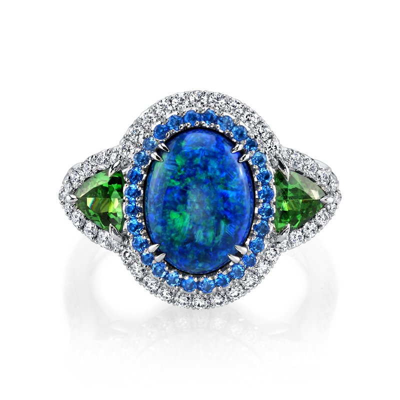 Omi Prive Opal, Hauyne, Tsavorite Garnet & Diamond Ring