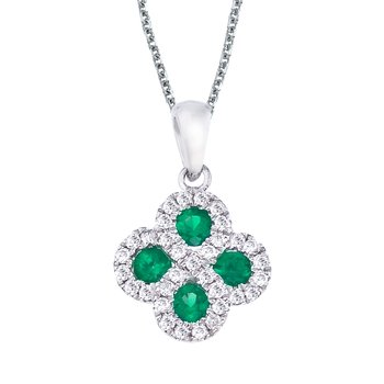 14k White Gold Emerald and .13 ct Diamond Clover Pendant