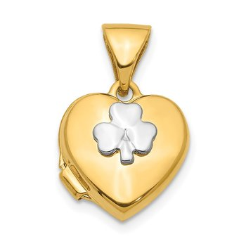 14K w/Rhodium 11mm Clover Heart Locket Pendant