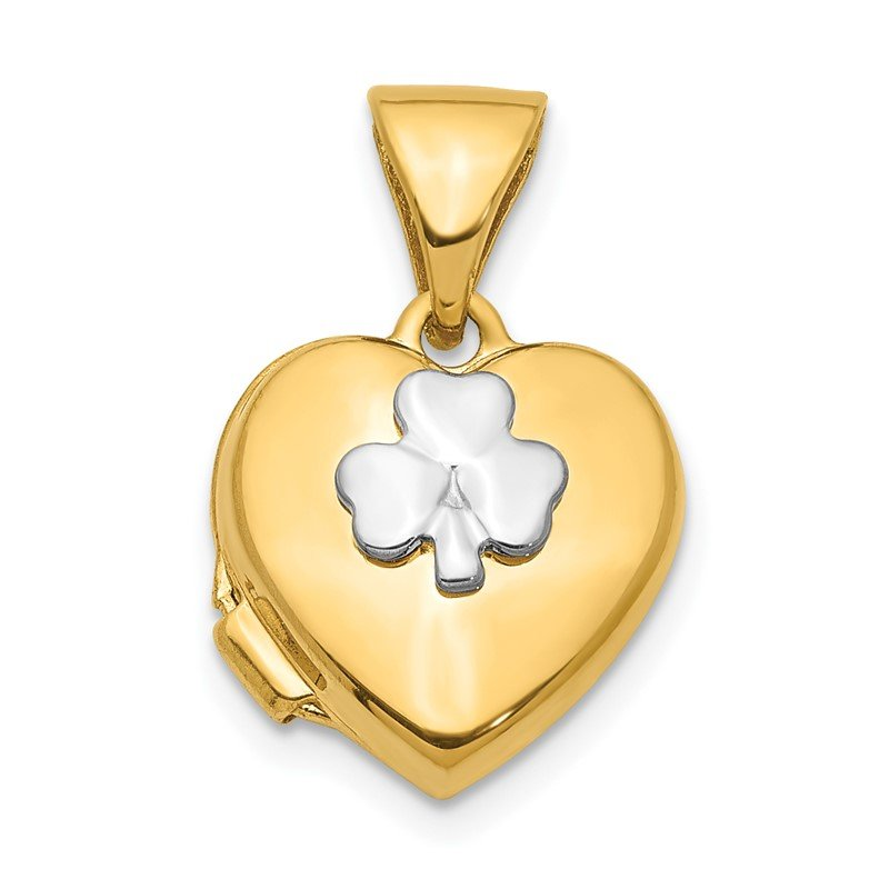 Quality Gold 14K w/Rhodium 11mm Clover Heart Locket Pendant