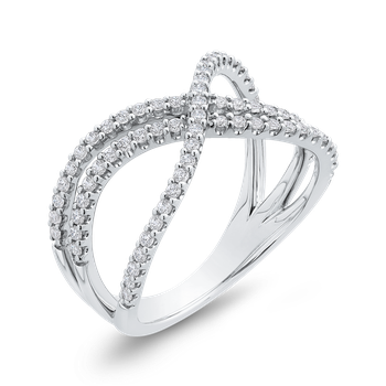 10K White Gold 3/8 ct White Diamond Crossover Fashion Band Ring