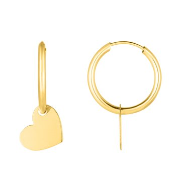 14K Gold Polished Heart Dangle Hoop