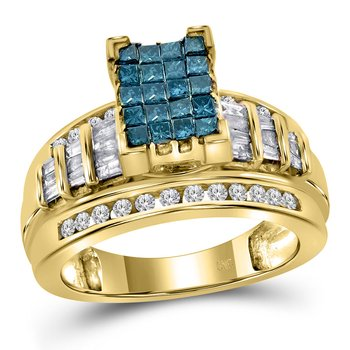 14kt Yellow Gold Womens Princess Blue Color Enhanced Diamond Cluster Bridal Wedding Engagement Ring 1.00 Cttw