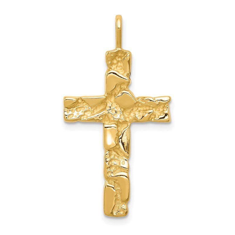 Quality Gold 14k Nugget Cross Pendant
