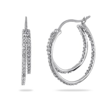 14K WG Diamond Hoop Earrings