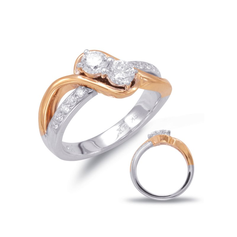 S. Kashi  & Sons White & Rose Gold Two Stone Ring