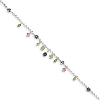 Sterling Silver 9in Pink Crystal Green Quartz Peridot Beads Anklet