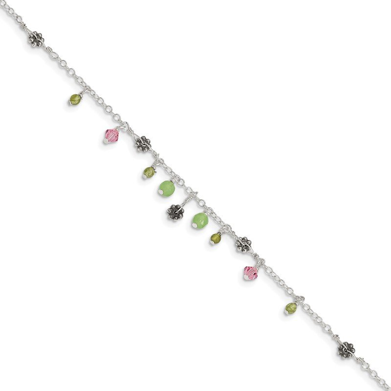 Quality Gold Sterling Silver 9in Pink Crystal Green Quartz Peridot Beads Anklet