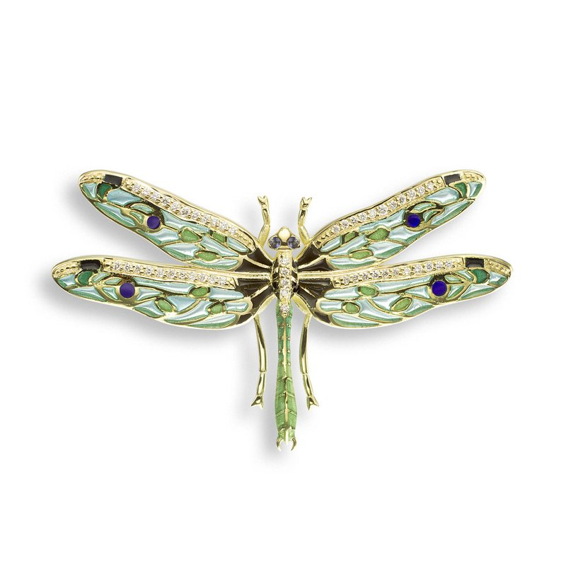 Nicole Barr Designs Green Dragonfly Pendant.18K -Diamond and Blue Sapphire - Plique-a-Jour