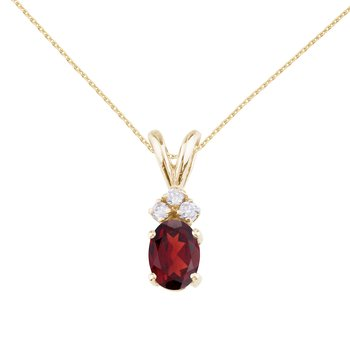 14K Yellow Gold Oval Garnet and Diamond