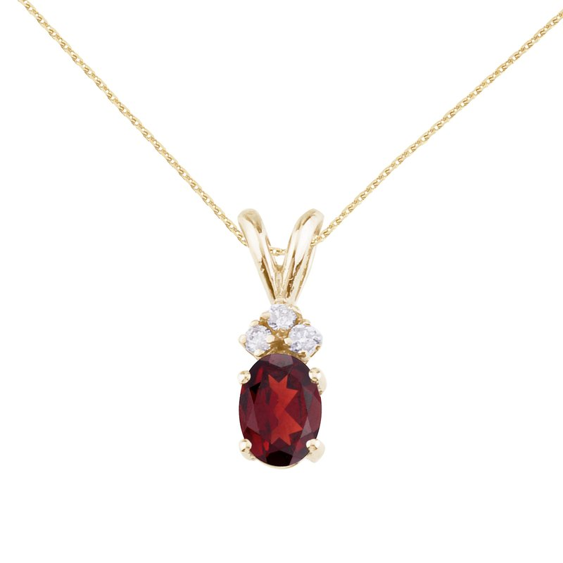 Color Merchants 14K Yellow Gold Oval Garnet and Diamond