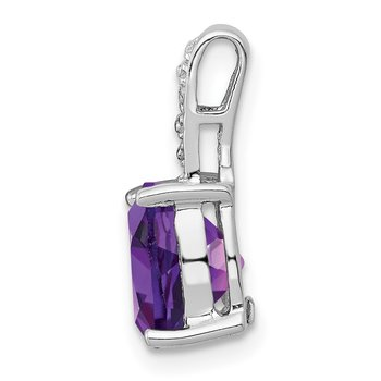 Sterling Silver Rhodium Amethyst & Diamond Pendant