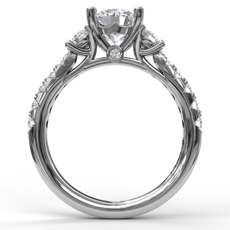 Fana Three Stone With Pave Engagement Ring