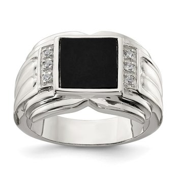 Sterling Silver Rhodium-plated CZ and Onyx Ring