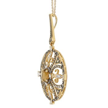 Brown Diamond and Honey Quartz Pendant