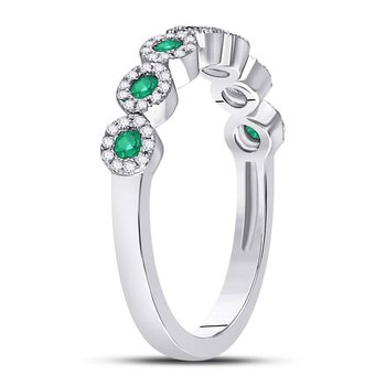 10kt White Gold Womens Round Emerald Circle Stackable Band Ring 1/2 Cttw