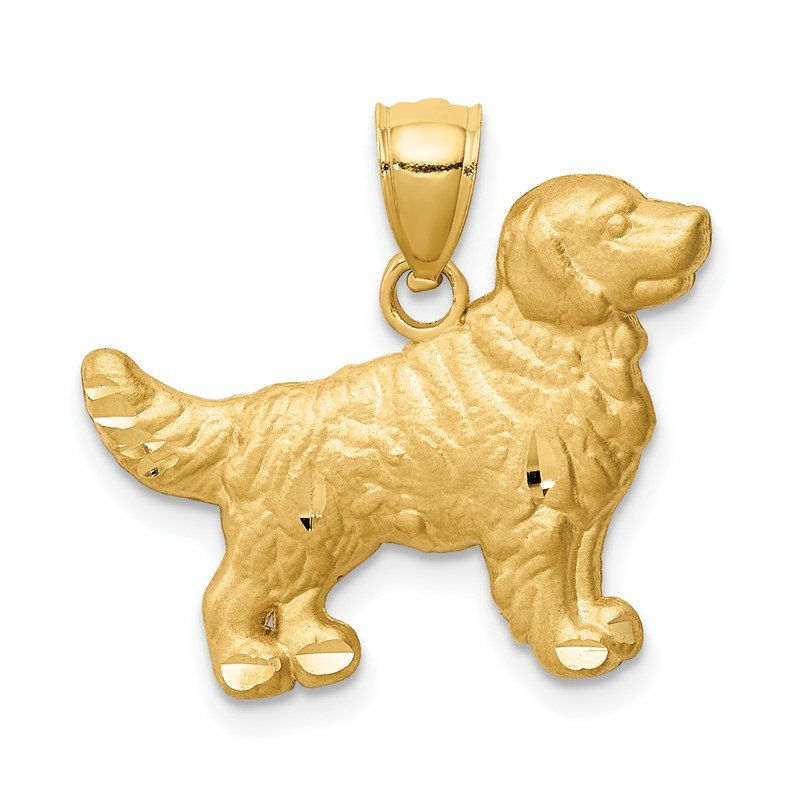 Quality Gold 14K Diamond-cut Golden Retriever Pendant