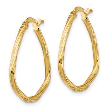 14k Polished Twisted Fancy Triangle Hoop Earrings