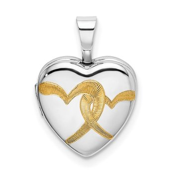 Sterling Silver Rhodium-plated Gold-plated Linked Hearts 12mm Heart Locket