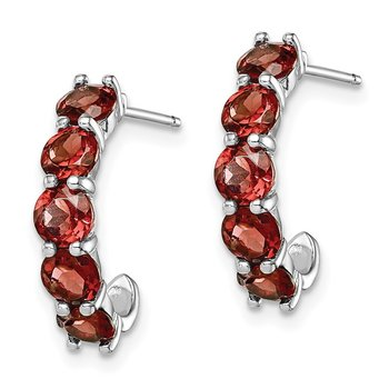Sterling Silver Rhodium-plated Garnet J-Hoop Earrings
