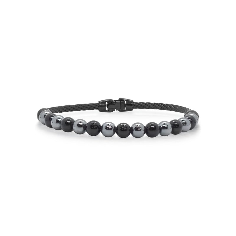 ALOR Single Row Black Cable & Black Onyx & Hematite Bracelet