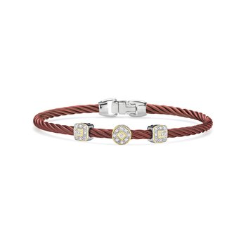 Burgundy Cable Essential Stackable Bracelet with Multiple Diamond station set in 18kt White & Yellow Gold