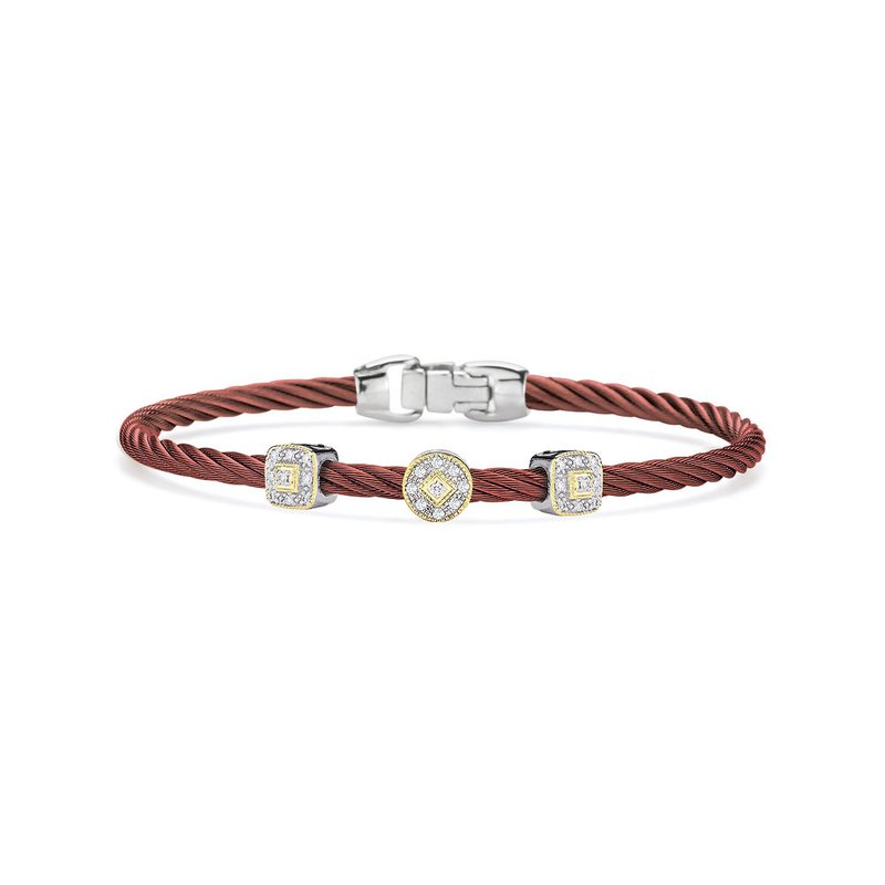 ALOR Burgundy Cable Essential Stackable Bracelet with Multiple Diamond station set in 18kt White & Yellow Gold