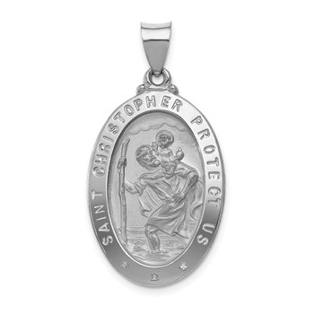 14k White Gold Polished/Satin St Christopher Medal Hollow Pendant