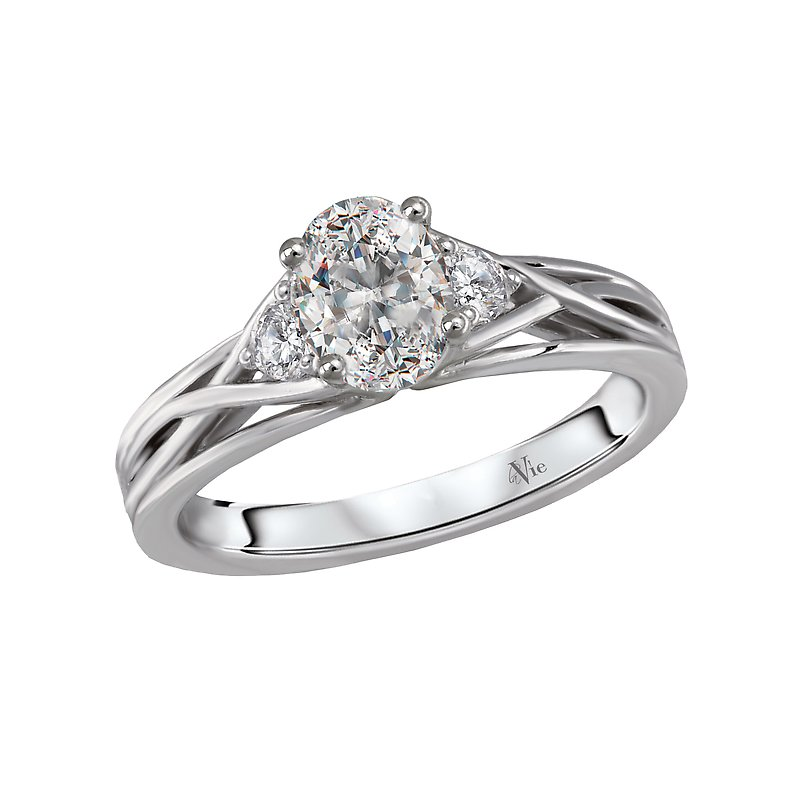 LaVie 3 Stone Semi-Mount Diamond Ring