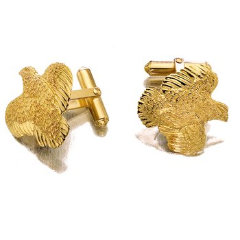 Quail Cufflinks - Pair - 14kt Gold