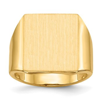 14k 17.5x15.0mm Open Back Mens Signet Ring