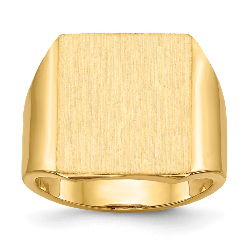 Quality Gold 14k 17.5x15.0mm Open Back Mens Signet Ring