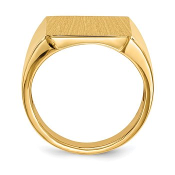 14k 17.5x15.5mm Open Back Mens Signet Ring